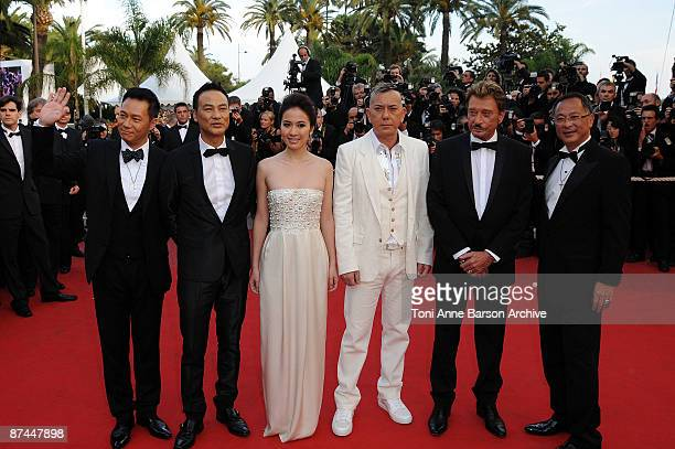 Actors SiuFai Cheung Simon Yam Anthony Wong actress Michelle Ye singer and actor Johnny Hallyday and wife Laeticia Hallyday attend the Vengeance...