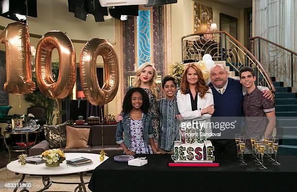 Actors Skai Jackson Peyton List Karan Brar Debby Ryan Kevin Chamberlin and Cameron Boyce attend Disney Channel's 100 episode celebration for 'Jessie'...