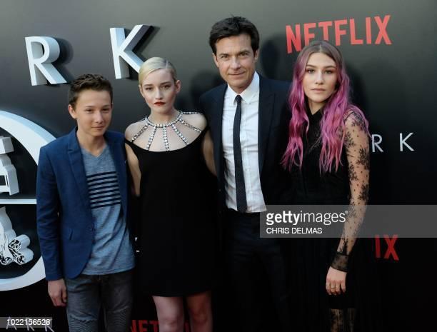 "Actors Skylar Gaertner, Julia Garner, Jason Bateman and Sofia Hublitz arrive for the Netflix special screening of ""Ozark"" Season 2 on August 23, 2018..."