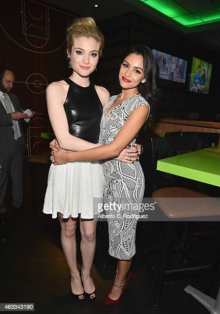 Actors Skylar Samuels and Bianca Santos attend the after party for a Fan Screening of CBS Films' The Duff at Dave Busters on February 12 2015 in...
