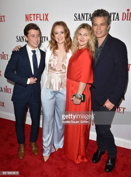 Actors Skyler Gisondo Liv Hewson Drew Barrymore and Timothy Olyphant attend Netflix's 'Santa Clarita Diet' season 2 premiere at The Dome at Arclight...