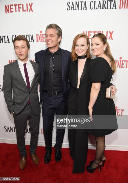 Actors Skyler Gisondo Timothy Olyphant Liv Hewson and Drew Barrymore attend the Santa Clarita Diet Premiere on February 1 2017 in Los Angeles...