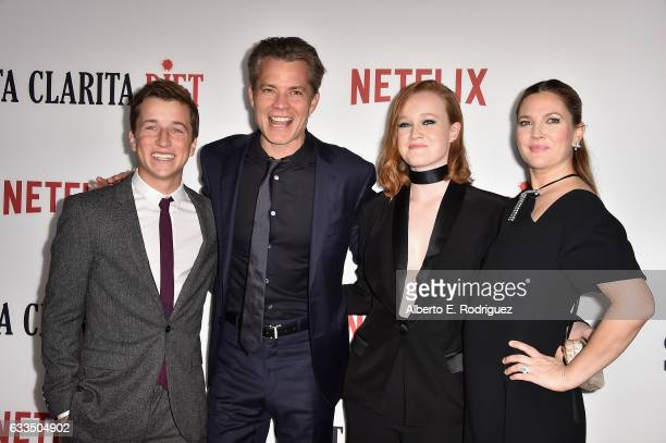 Actors Skyler Gisondo Timothy Olyphant Liv Hewson and Drew Barrymore attend the premiere Netflix's Santa Clarita Diet at ArcLight Cinemas Cinerama...