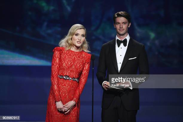 Actors Skyler Samuels and Patrick Schwarzenegger speak onstage during The 23rd Annual Critics' Choice Awards at Barker Hangar on January 11 2018 in...