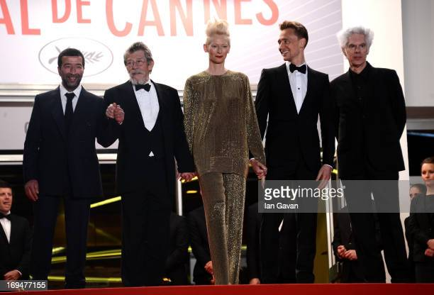 Actors Slimane Dazi John Hurt Tilda Swinton Tom Hiddleston and director Jim Jarmusch attend the 'Only Lovers Left Alive' premiere during The 66th...
