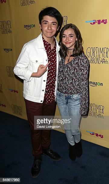 Actors Sloane Morgan Siegel and Ashley Boettcher attend a celebration of Amazon's Gortimer Gibbon's Life on Normal Street Season 2 at Racer's Edge...