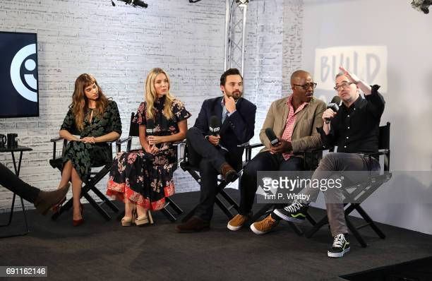 Actors Sofia Boutella Annabelle Wallis Jake Johnson Courtney B Vance and Director Alex Kurtzman from 'The Mummy' speak at the Build LDN event at AOL...
