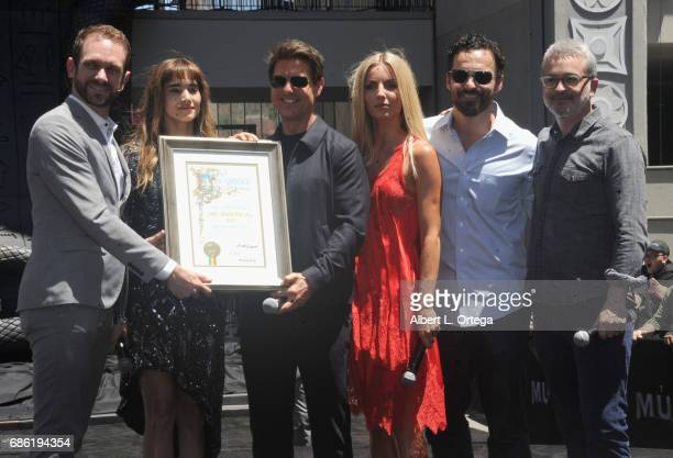 Actors Sofia Boutella Tom Cruise Jake Johnson Annabelle Wallis and director Alex Kurtzman attend the Universal Celebration of 'The Mummy Day' With a...