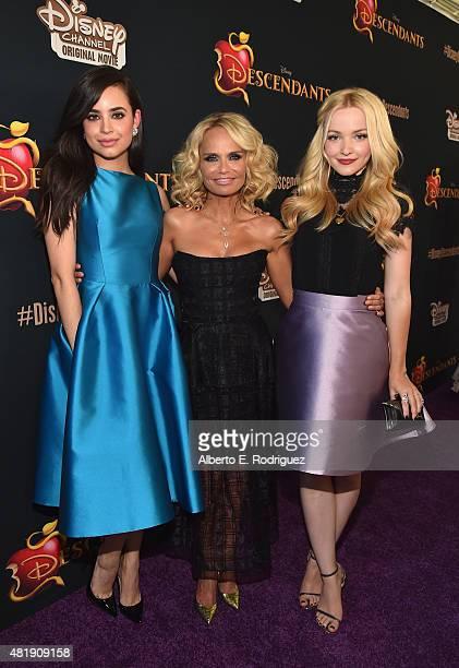 Actors Sofia Carson DoveCameron and Kristin Chenoweth attend the premiere of Disney Channel's 'Descendants' at Walt Disney Studios on July 24 2015 in...