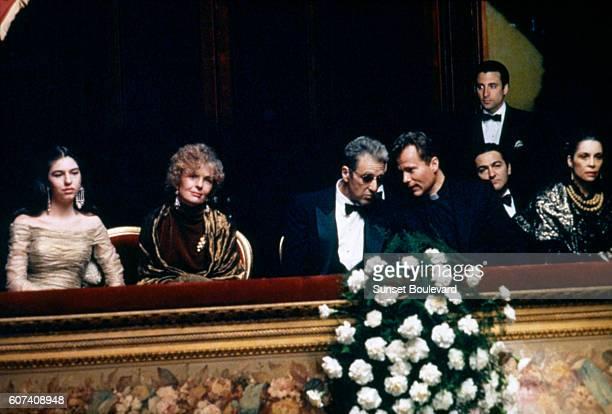 Actors Sofia Coppola Diane Keaton Al Pacino John Savage Don Novello Andy Garcia and Talia Shire on the set of The Godfather Part III written and...