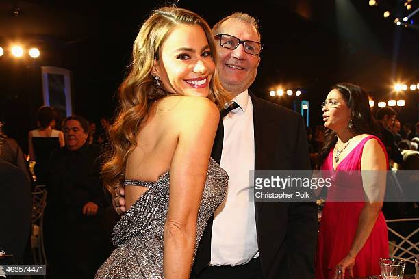 Actors Sofia Vergara and Ed O'Neill onstage during 20th Annual Screen Actors Guild Awards at The Shrine Auditorium on January 18 2014 in Los Angeles...
