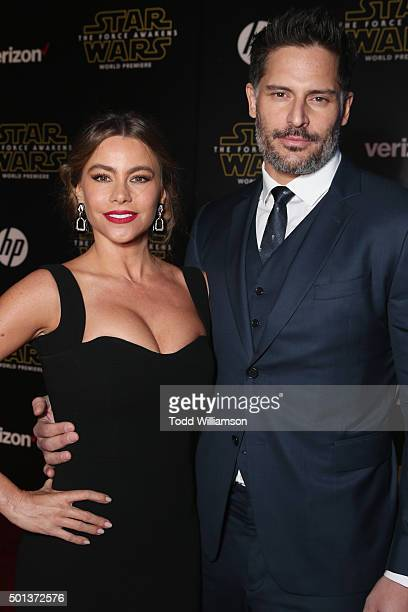 Actors Sofia Vergara and Joe Manganiello attend Premiere of Walt Disney Pictures and Lucasfilm's Star Wars The Force Awakens on December 14 2015 in...