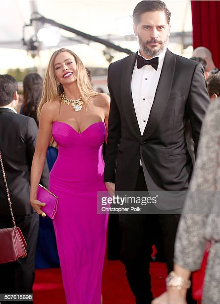 Actors Sofia Vergara and Joe Manganiello attend The 22nd Annual Screen Actors Guild Awards at The Shrine Auditorium on January 30 2016 in Los Angeles...