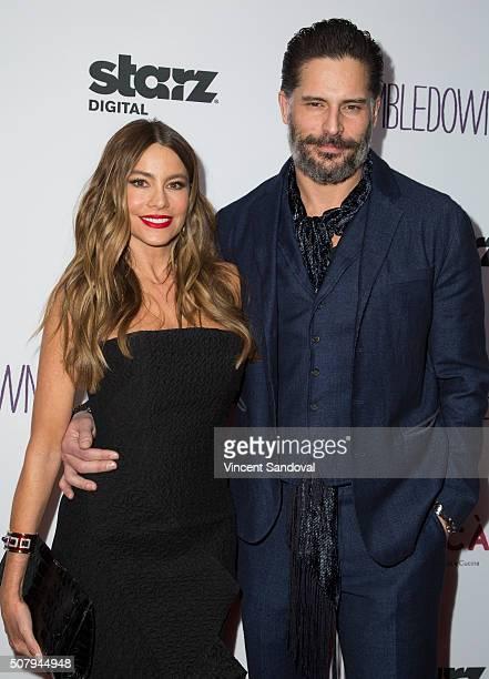 Actors Sofia Vergara and Joe Manganiello attend the premiere of Starz Digital Media's 'Tumbledown' at Aero Theatre on February 1 2016 in Santa Monica...