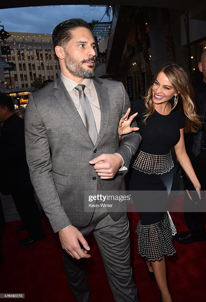 Actors Sofia Vergara (R) and Joe Manganiello attend the Universal Pictures' 'Jurassic World' premiere at the Dolby Theatre on June 9, 2015 in Hollywood, California.