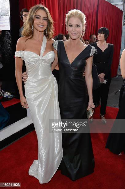 Actors Sofia Vergara and Julie Bowen arrives at the 19th Annual Screen Actors Guild Awards held at The Shrine Auditorium on January 27, 2013 in Los...