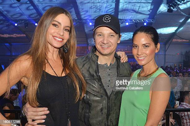 Actors Sofia Vergara Jeremy Renner and Olivia Munn attend the Rolling Stone LIVE party held at the Bud Light Hotel on February 1 2013 in New Orleans...