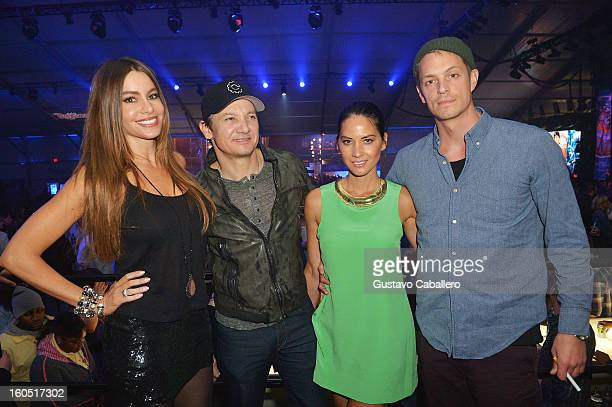 Actors Sofia Vergara Jeremy Renner Olivia Munn and Joel Kinnaman attend the Rolling Stone LIVE party held at the Bud Light Hotel on February 1 2013...