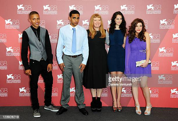 Actors Solomon Glave James Howson director Andrea Arnold Kaya Scodelario and Shannon Beer attends the 'Wuthering Heights' Photocall during the 68th...