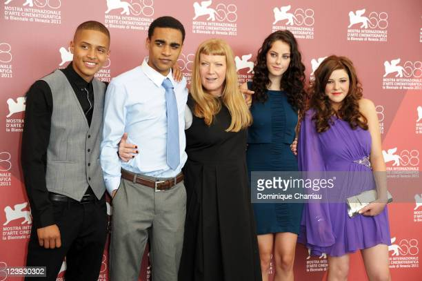 """Actors Solomon Glave, James Howson, director Andrea Arnold, Kaya Scodelario and Shannon Beer attends the """"Wuthering Heights"""" Photocall during the..."""