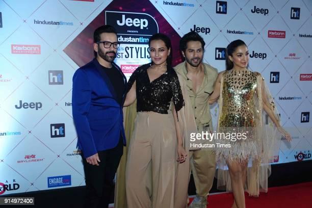 Actors Sonakshi Sinha Varun Dhawan and Kiara Advani during Hindustan Times India's Most Stylish Awards 2018 at Yash Raj Studios Andheri on January 24...