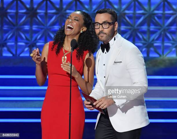 Actors Sonequa MartinGreen and Jeremy Piven speak onstage during the 69th Annual Primetime Emmy Awards at Microsoft Theater on September 17 2017 in...