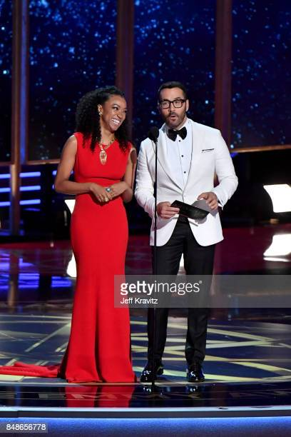 Actors Sonequa Martin-Green and Jeremy Piven speak onstage during the 69th Annual Primetime Emmy Awards at Microsoft Theater on September 17, 2017 in...