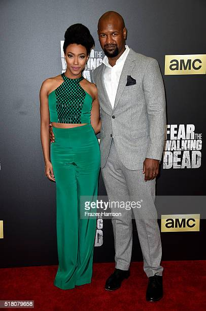 Actors Sonequa MartinGreen and Kenric Green attend attend the premiere of AMC's 'Fear The Walking Dead' Season 2 at Cinemark Playa Vista on March 29...