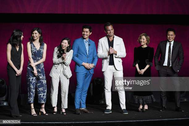 Actors Sonoya Mizuno Gemma Chan Awkwafina Henry Golding Will Arnett Constance Wu and Director Jon M Chu speak onstage during CinemaCon 2018 Warner...