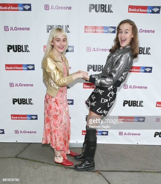 Actors Sophia Anne Caruso and Sydney Lucas attend the 2017 Public Theater Gala Hair to Hamilton at Delacorte Theater on June 5 2017 in New York City