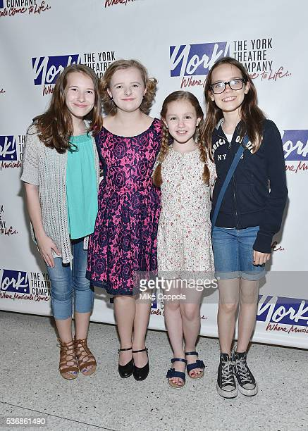 Actors Sophia Gennusa Milly Shapiro Mimi Ryder and Oona Laurence attend 'You're A Good Man Charlie Brown' Opening Night After Party at Dylan's Candy...