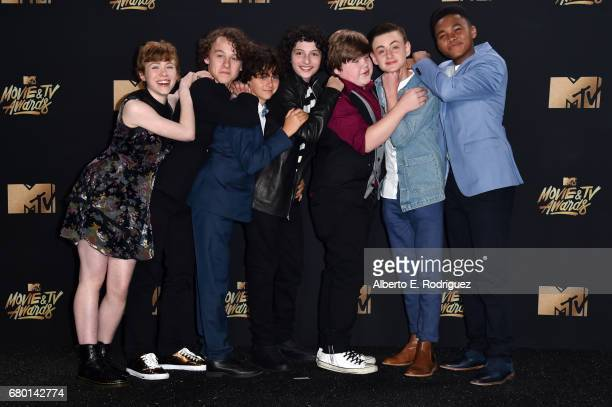 Actors Sophia Lillis Wyatt Oleff Jack Dylan Grazer Finn Wolfhard Jeremy Ray Taylor Jaeden Lieberher and Chosen Jacobs pose in the press room during...