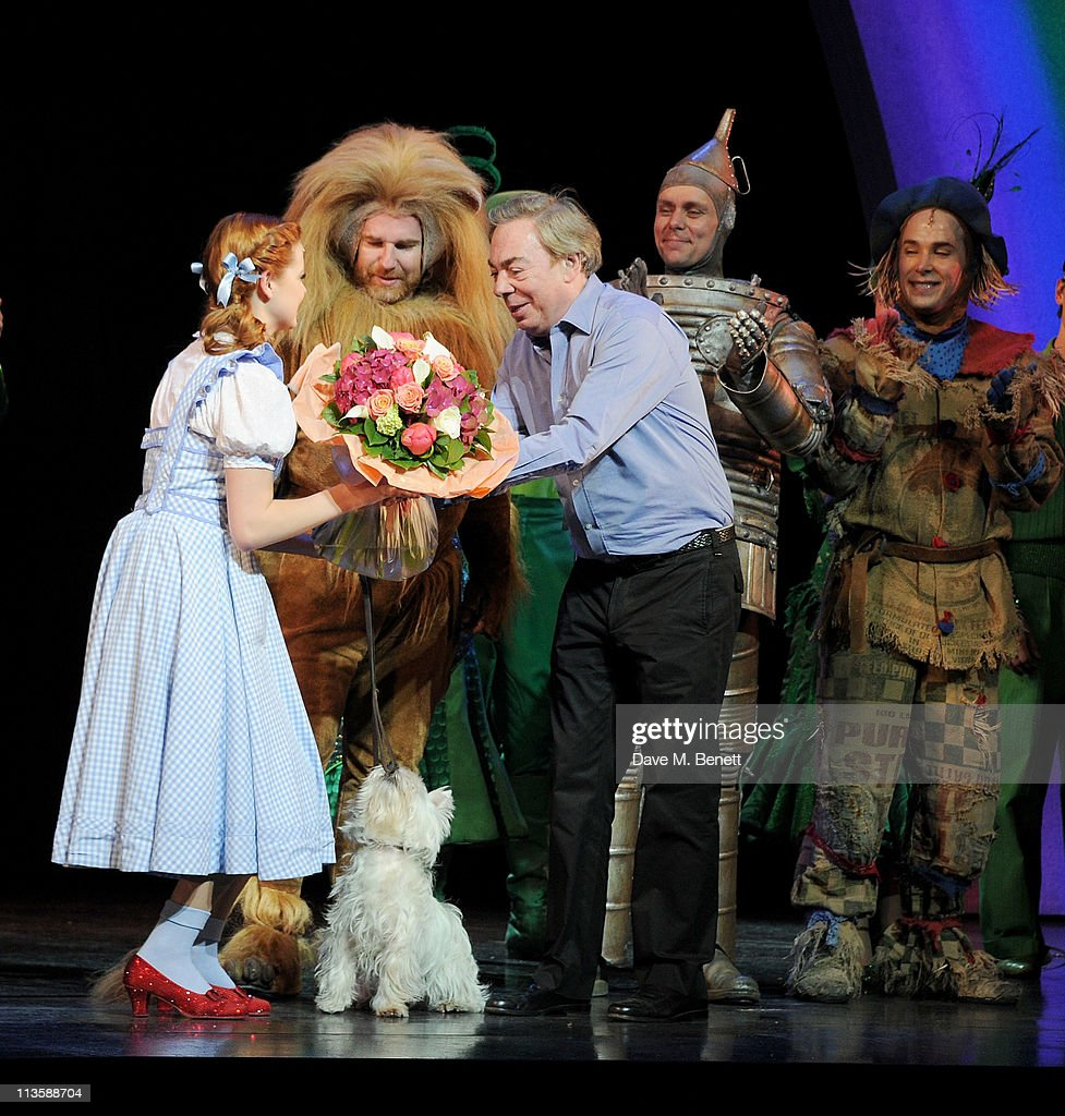 Actors Sophie Evans, David Ganly, Lord Andrew Lloyd Webber, Edward Baker-Duly and Paul Keating bow on stage as Lord Andrew Lloyd Webber visits Sophie Evans, runner-up in the BBC 1's 'Over the Rainbow', as she begins her first week-long run as Dorothy in The Wizard of Oz at the London Palladium on May 3, 2011 in London, England.