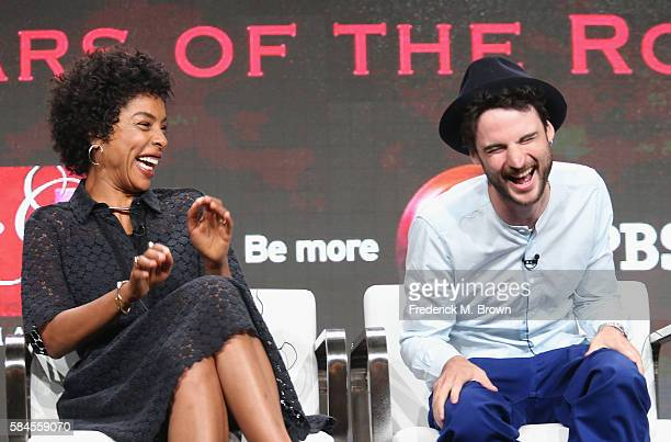 Actors Sophie Okonedo and Tom Sturridge speak onstage during the 'Great Performances 'The Hollow Crown The Wars of the Roses'' panel discussion at...