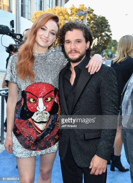 Actors Sophie Turner and Kit Harrington at the Los Angeles Premiere for the seventh season of HBO's Game Of Thrones at Walt Disney Concert Hall on...