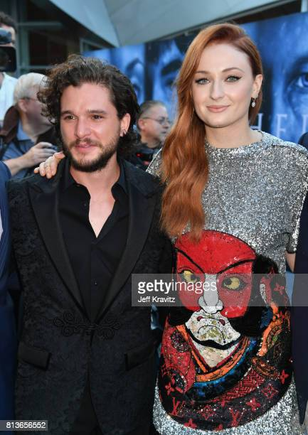 Actors Sophie Turner and Kit Harrington at the Los Angeles Premiere for the seventh season of HBO's 'Game Of Thrones' at Walt Disney Concert Hall on...