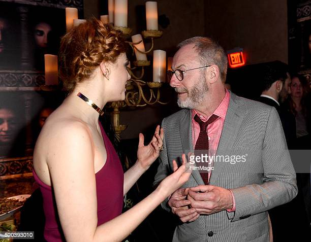Actors Sophie Turner and Liam Cunningham attend the after party at the premiere for the sixth season of HBO's 'Game Of Thrones' at TCL Chinese...