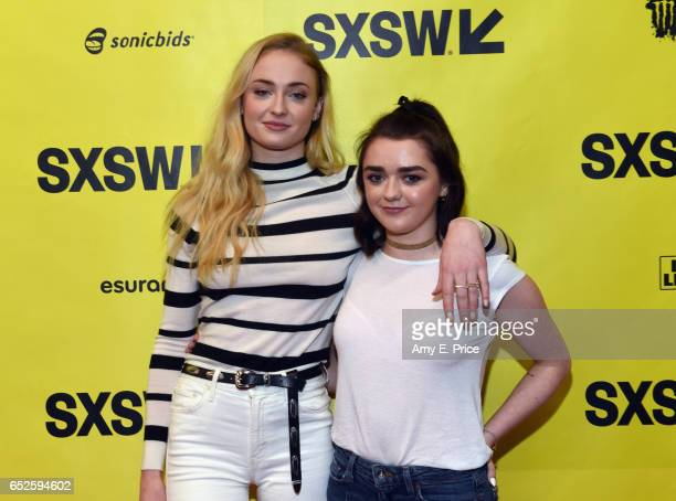 Actors Sophie Turner and Maisie Williams attend onstage at 'Featured Session Game of Thrones' during 2017 SXSW Conference and Festivals at Austin...
