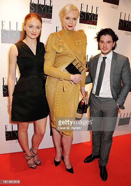 Actors Sophie Turner Gwendoline Christie and Kit Harington accept the Best TV Show winner for Game of Thrones in the press room at the Elle Style...