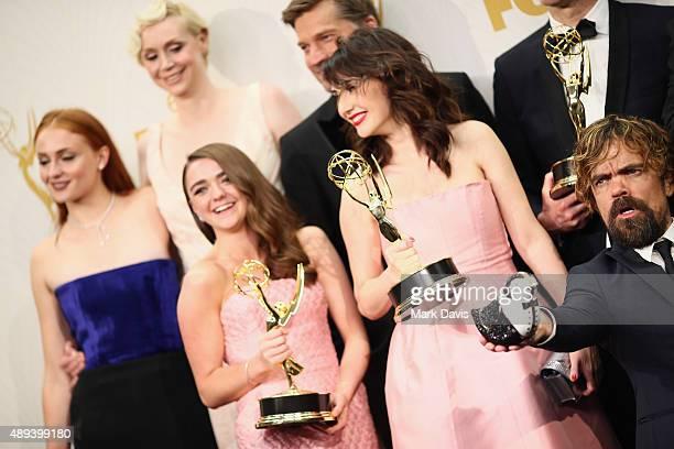 Actors Sophie Turner Gwendoline Christie Maisie Williams Nikolaj CosterWaldau Carice van Houten and Peter Dinklage winners of the award for...