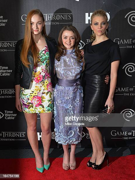 Actors Sophie Turner Maisie Williams and Natalie Dormer attend 'Game Of Thrones' The Exhibition New York Opening at 3 West 57th Avenue on March 27...