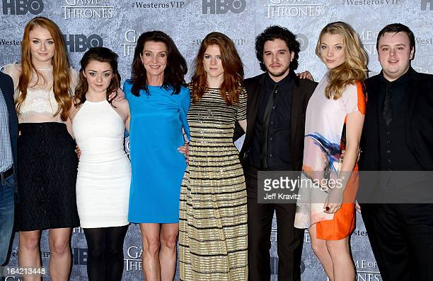 Actors Sophie Turner Maisie Williams Michelle Fairley Rose Leslie Kit Harington Natalie Dormer and John Bradley attend HBO's Game Of Thrones Season 3...
