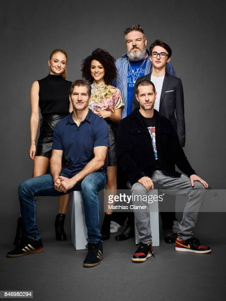 Actors Sophie Turner Nathalie Emmanuel Kristian Nairn and Isaac Hempstead Wright with writer/producers David Benioff and BD Weiss from 'Game of...