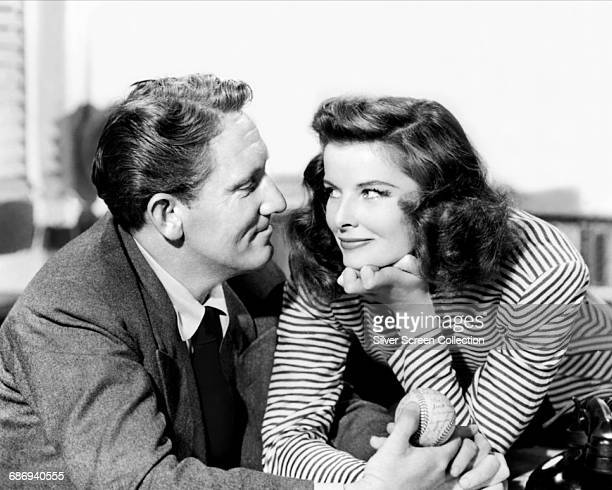 Actors Spencer Tracy as Sam Craig and Katharine Hepburn as Tess Harding in the romantic comedy film 'Woman of the Year' 1942