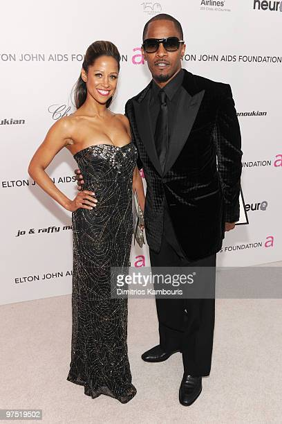 Actors Stacey Dash and Jamie Foxx arrive at the 18th Annual Elton John AIDS Foundation Oscar party held at Pacific Design Center on March 7 2010 in...