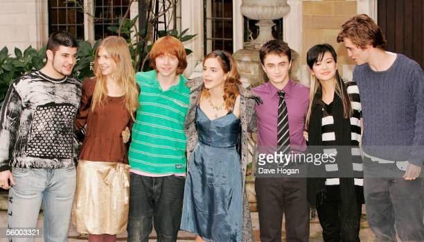 Actors Stanislav Ianevski Clemence Poesy Rupert Grint Emma Watson Daniel Radcliffe Katie Leung and Robert Pattinson attend the photocall for the...