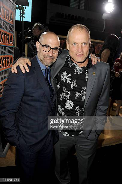 Actors Stanley Tucci and Woody Harrelson arrive at the premiere of Lionsgate's The Hunger Games at Nokia Theatre LA Live on March 12 2012 in Los...