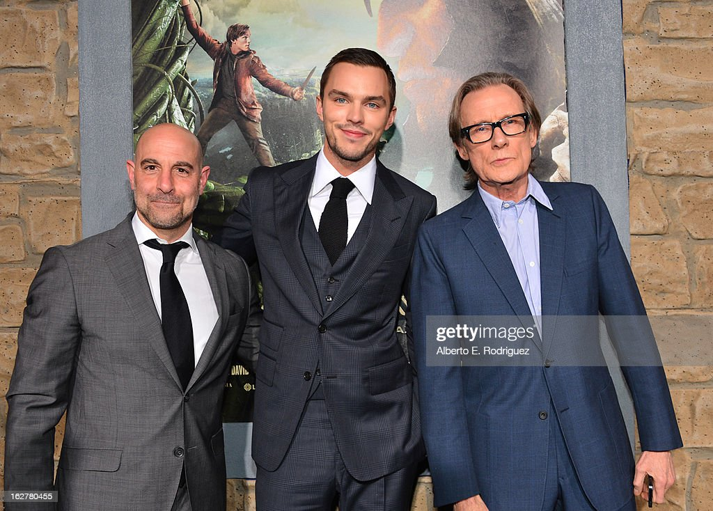 Actors Stanley Tucci, Nicholas Hoult, and Bill Nighy attend the premiere of New Line Cinema's 'Jack The Giant Slayer' at TCL Chinese Theatre on February 26, 2013 in Hollywood, California.
