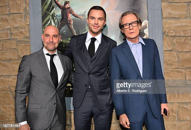 Actors Stanley Tucci Nicholas Hoult and Bill Nighy attend the premiere of New Line Cinema's Jack The Giant Slayer at TCL Chinese Theatre on February...