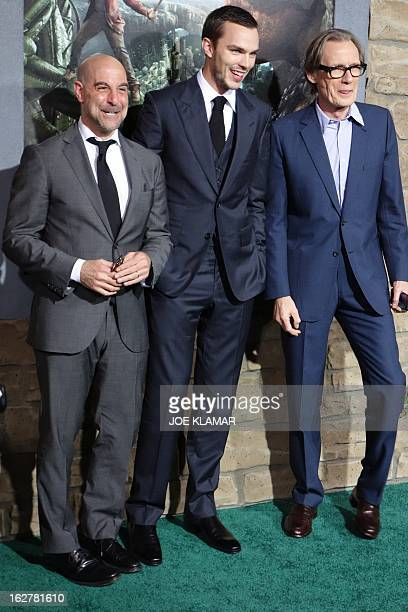 Actors Stanley Tucci Nicholas Hoult and Bill Nighy attend the premiere of New Line Cinema's 'Jack The Giant Slayer' at TCL Chinese Theatre on...